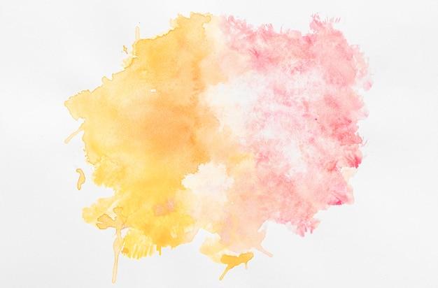 Acquerello copia spazio arancione e vernice rosa