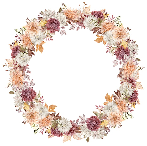 Corona di astri acquerello cremisi, bianchi e arancioni. cornice del cerchio di fiori autunnali. modello autunnale isolato su sfondo bianco.