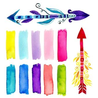 Set di decorazioni ad acquerello. arte della pittura a mano con pennellate e frecce etniche
