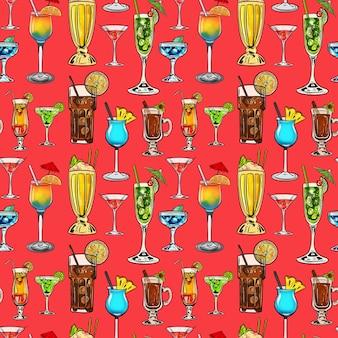 Modello senza cuciture dell'illustrazione digitale dell'acquerello di cocktail di diverse forme e colori su