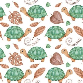 Disegno ad acquerello con tartarughe e foglie