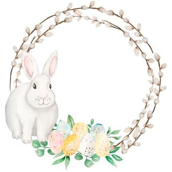 Clipart di ghirlanda di pasqua dell'acquerello, illustrazione di coniglietto bianco disegnato a mano sveglio, clipart animale festivo, uova di pasqua, creazione di carte