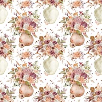 Mazzi di fiori autunnali ad acquerello con astri e crisantemi cremisi, bianchi e arancioni. modello senza cuciture di fiori autunnali