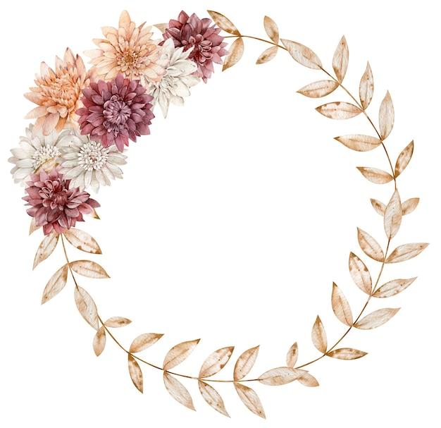 Corona di caduta dell'acquerello decorata con fiori di aster, foglie d'autunno. bella cornice floreale del cerchio.