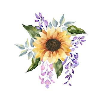 Bouquet floreale dell'acquerello selvaggio, erba della foresta, fiori, rami. illustrazione isolato su sfondo bianco, foglie verdi. collezione di elementi floreali dipinti a mano.