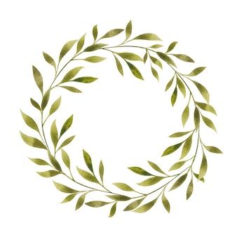 Spazio vuoto della copia del modello in bianco del bordo della struttura della corona rotonda floreale dell'acquerello isolato su white