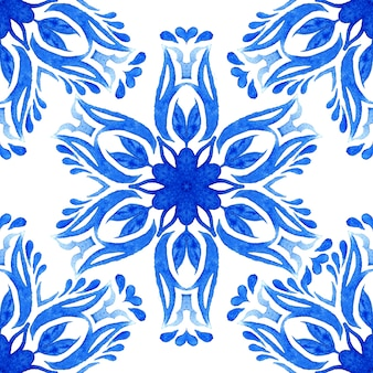 Mattonelle di azulejo del modello senza cuciture del fiore dell'acquerello