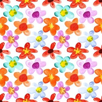 Fiori dell'acquerello di diversi colori - sfondo senza soluzione di continuità