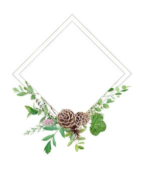 Cornice verde foresta dell'acquerello. perfetto per logo e invito a nozze. illustrazione botanica.