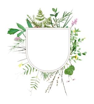 Cornice verde foresta acquerello perfetta per l'illustrazione botanica di logo e invito a nozze wedding