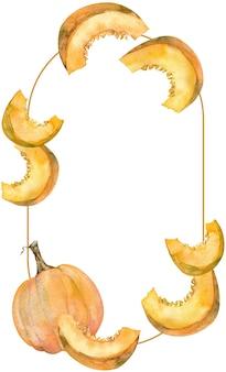 Cornice acquerello di zucca arancione e fette. modello del giorno del ringraziamento. illustrazione botanica isolato su sfondo bianco.