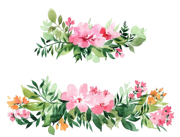 Cornice acquerello con fiori, isolato su sfondo bianco. perfettamente per la festa della mamma, matrimonio, compleanno, pasqua, san valentino, cartolina di natale.