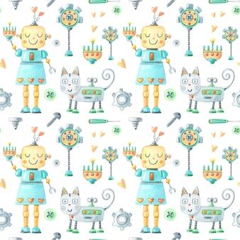 Ragazza robot divertente dell'acquerello, gatto, cacciavite, vite, ingranaggio su sfondo bianco