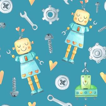 Ragazza robot divertente dell'acquerello, cacciavite, vite, ingranaggio su sfondo blu
