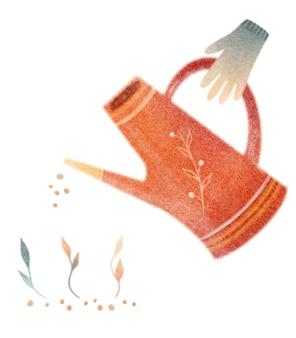 Attrezzi da giardino ad acquerello cartolina con annaffiatoio semi germogli guanti di gomma su sfondo bianco