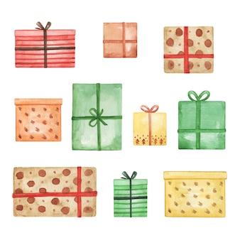 Clipart di scatola regalo dell'acquerello, set di regali di buon natale, illustrazione disegnata a mano, decorazioni di capodanno
