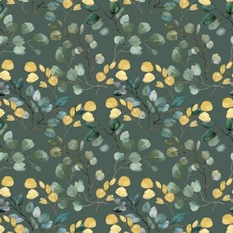 Acquerello oro e foglie verdi e rami pattern su sfondo verde
