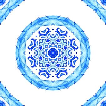Reticolo disegnato a mano senza giunte dell'acquerello splendido da ornamento turco piastrelle orientali blu e bianche