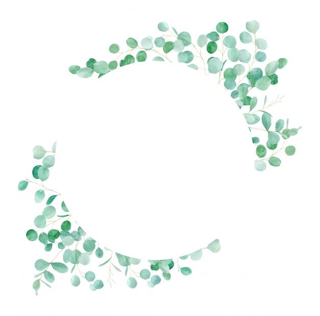 Cornice floreale verde dell'acquerello con eucalipto. modello dipinto a mano con rami di eucalipto. perfetto per il matrimonio