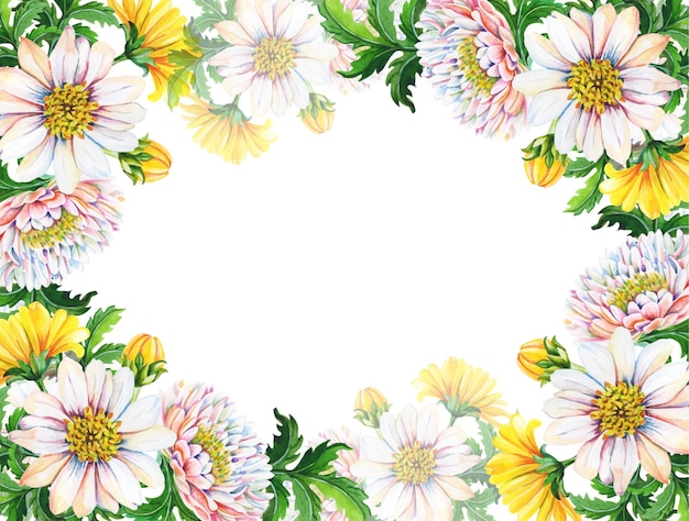 Cartolina d'auguri dell'acquerello, invito con crisantemi.