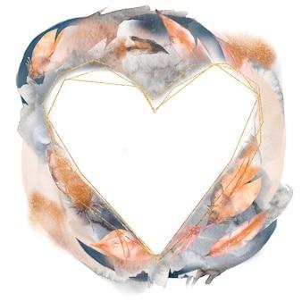 Illustrazione disegnata a mano della corona del cuore delle piume astratte dell'acquerello