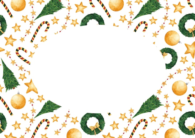 Cartolina di natale disegnata a mano dell'acquerello con lo spazio della copia. anno nuovo vuoto, modello, bordo, cornice. elemento di design per le vacanze invernali per cartoline, tag, design e decorazione.
