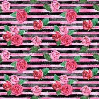 Reticolo senza giunte orizzontale disegnato a mano dell'acquerello con strisce rosa e nere e rose rosse e rosa. struttura di modo delle rose a strisce dell'acquerello.