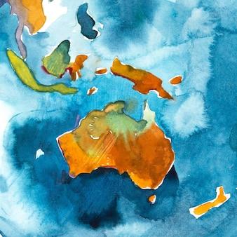 Mappa disegnata a mano dell'acquerello dell'australia. illustrazione dell'acquerello.