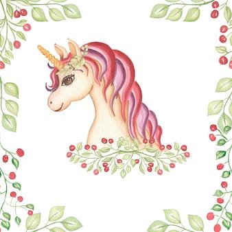 Illustrazione di carta unicorno rosa e viola disegnata a mano dell'acquerello.
