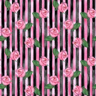 Reticolo senza giunte verticale disegnato a mano dell'acquerello con strisce rosa e nere e boccioli di rosa rosa. concetti di moda, biancheria da letto, tessuto e confezionamento.