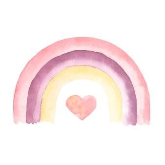 Insieme di clipart dell'acquerello boho arcobaleno dipinto a mano.