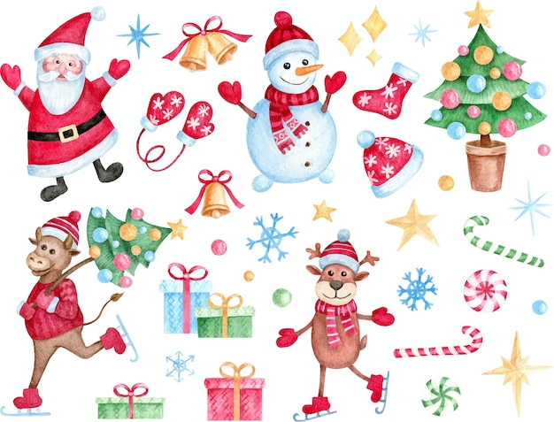 Set di natale dipinto a mano ad acquerello di simpatici personaggi ed elementi di vacanza per logo, tessuto, stampa, decorazioni natalizie.