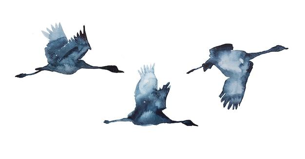 Acquerello dipinto a mano uccelli in volo silhouette illustrazione isolato su uno sfondo bianco