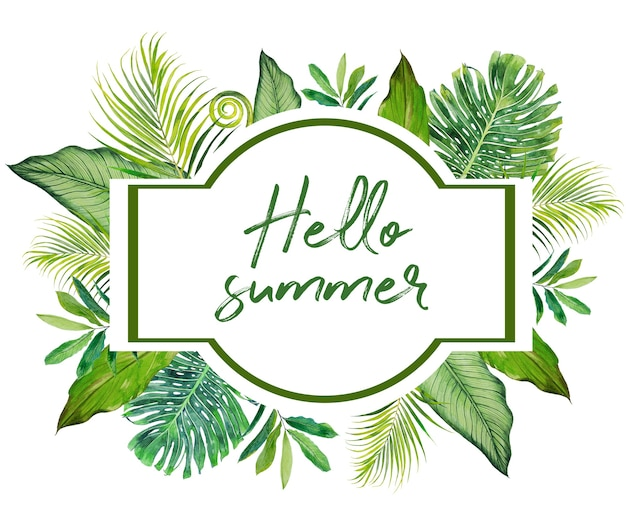 Banner ciao estate dipinto a mano dell'acquerello con sfondo bianco.