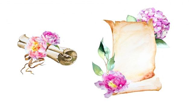 Lettera e busta dipinte a mano dell'acquerello con l'illustrazione dei fiori isolata su una parete bianca.