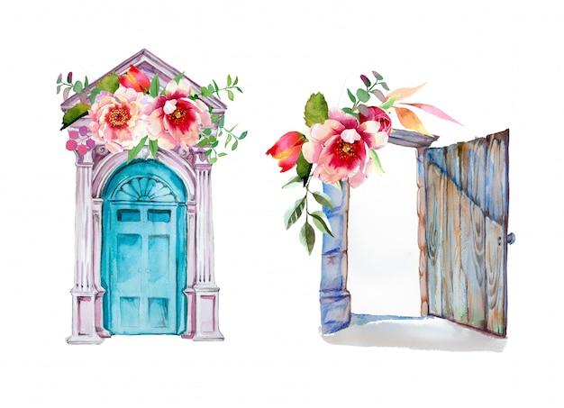 Vecchie porte dipinte a mano dell'acquerello con disegni di fiori. illustrazione di porte antiche.