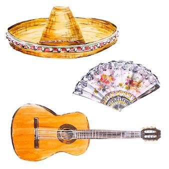 Insieme di clipart dell'acquerello dipinto a mano sombrero e chitarra. clipart di cultura spagnola.
