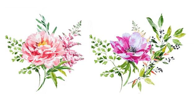 Insieme dipinto a mano di clipart dei mazzi del fiore della molla dell'acquerello.