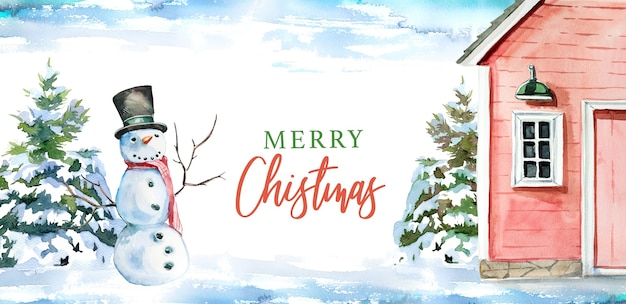 Illustrazione dipinta a mano dell'acquerello del granaio e del pupazzo di neve di inverno. buon natale
