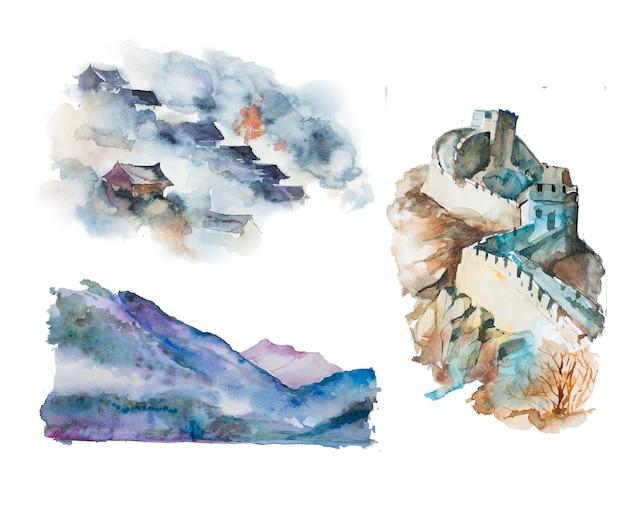 Illustrazioni asiatiche dipinte a mano del paesaggio dell'acquerello. set di clipart orientali.