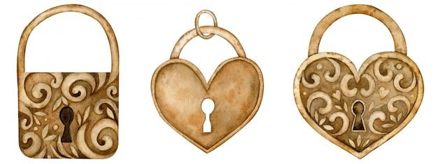 Serrature a forma di cuore dell'acquerello per il concetto di amore e di san valentino. illustrazione disegnata a mano