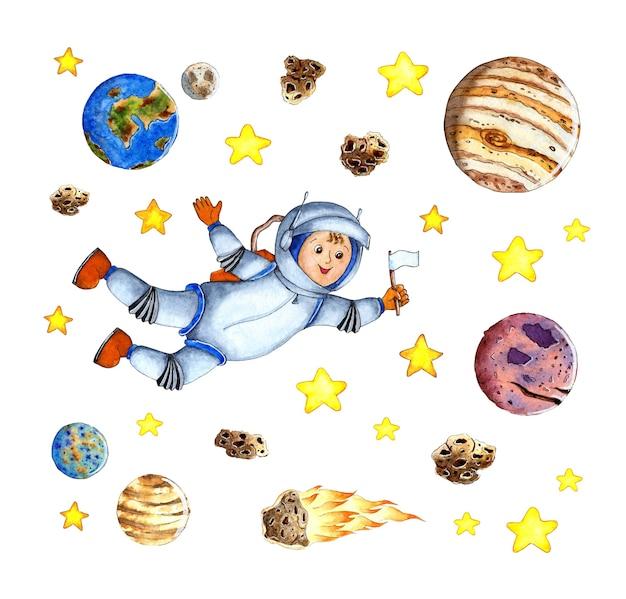 Illustrazione dell'acquerello di un astronauta che vola in una tuta spaziale nello spazio esterno con una bandiera bianca nelle sue mani un astronauta a gravità zero tra stelle pianeti e asteroidi foto per bambini