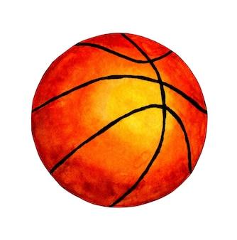 Illustrazione dell'acquerello pallone da basket. campionato. progettazione di banner. singola sfera arancione realistica isolata su priorità bassa bianca. bellissimo design della classica palla da gioco.
