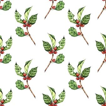 Illustrazione ad acquerello di rami di caffè e fagioli rossi stampa ripetuta senza soluzione di continuità di caffè
