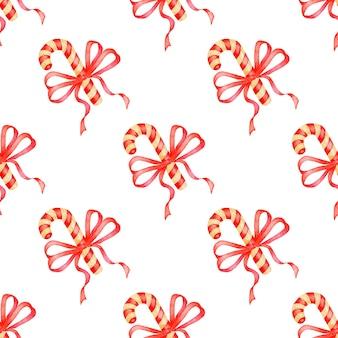 Illustrazione ad acquerello di caramelle e motivo a nastro rosso stampa festiva ripetuta senza soluzione di continuità