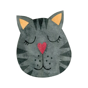 Illustrazione ad acquerello di una faccia di gatto isolata su uno sfondo bianco