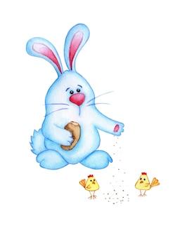 Illustrazione ad acquerello di un simpatico coniglietto pasquale blu che alimenta i polli. pane di mollica di lepre per polli da disegno per bambini. pasqua, tradizione, religione. isolato su sfondo bianco. disegnato a mano.