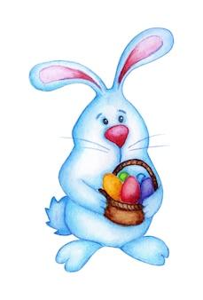 Illustrazione ad acquerello di un simpatico coniglietto pasquale che tiene un cesto di uova nelle zampe. coniglio divertente del fumetto in blu e con un grande naso. pasqua, tradizione, religione. isolato su bianco.