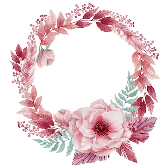 Illustrazione dell'acquerello di delicati fiori di anemone e ramoscelli tropicali blu. una corona di fiori rosa e foglie di palma blu.