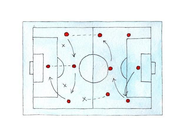 Illustrazione ad acquerello di un tabellone di strategia di calcio il layout della strategia di gioco del campo di gioco